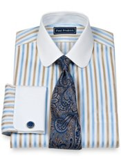2-Ply Cotton Bold Satin Stripe Club Collar French Cuff Trim Fit Dress Shirt