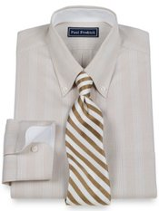 2-Ply Cotton Pinpoint Glen Plaid Button Down Collar Trim Fit Dress Shirt