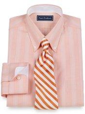 2-Ply Cotton Pinpoint Glen Plaid Button Down Collar Trim Fit Dress Shirt