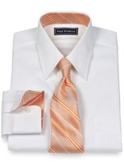 2-Ply Cotton Pinpoint Straight Collar w/ Silk Trim Dress Shirt