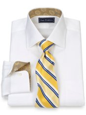 2-Ply Cotton Pinpoint Spread Collar w/ Silk Trim Dress Shirt