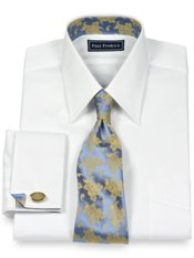 2-Ply Cotton Pinpoint Straight Collar French Cuff Trim Fit Dress Shirt
