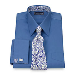 2-Ply Cotton Pinpoint Straight Collar French Cuff w/ Silk Trim Dress Shirt