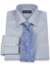 2-Ply Cotton Satin Check Spread Collar Dress Shirt