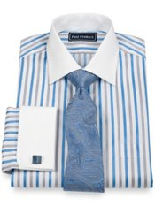 2-Ply Cotton Bold Satin Stripe Spread Collar French Cuff Trim Fit Dress Shirt