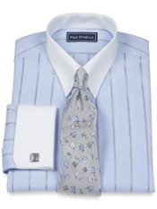 2-Ply Cotton Glen Plaid Button Tab Collar French Cuff Trim Fit Dress Shirt
