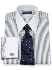 100% Cotton Alternating Stripe Straight Collar French Cuff Dress Shirt