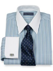 100% Cotton Alternating Stripe Straight Collar French Cuff Trim Fit Dress Shirt