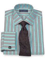 2-Ply Cotton Alternating Stripe Spread Collar French Cuff Trim Fit Dress Shirt