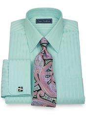 2-Ply Cotton Satin Stripes Straight Collar French Cuff Trim Fit Dress Shirt
