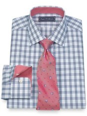 2-Ply Cotton Twill Check Jermyn Street Collar Trim Fit Dress Shirt