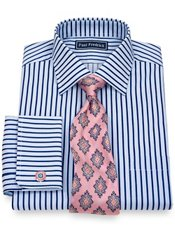 2-Ply Cotton Alternating Stripes Spread Collar French Cuff Trim Fit Dress Shirt