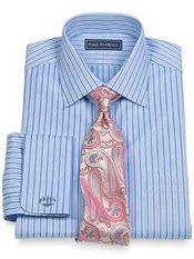 2-Ply Cotton Shadow Stripes Spread Collar French Cuff Dress Shirt