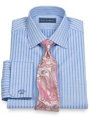 2-Ply Cotton Shadow Stripes Spread Collar French Cuff Trim Fit Dress Shirt