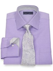 2-Ply Cotton Satin Rope Stripes Spread Collar Trim Fit Dress Shirt