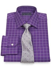 2-Ply Cotton Satin Rope Grid Spread Collar Dress Shirt