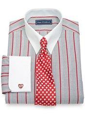 2-Ply Cotton Glen Plaid Satin Stripes Button Tab Collar French Cuff Dress Shirt