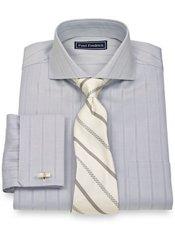 2-Ply Cotton Satin Herringbone Spread Collar French Cuff Trim Fit Dress Shirt