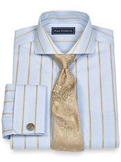 2-Ply Cotton Glen Plaid Stripes Spread Collar French Cuff Trim Fit Dress Shirt