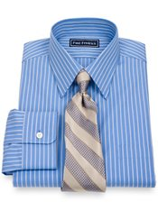 2-Ply Cotton Satin Ottoman Stripes Straight Collar Dress Shirt