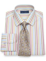 2-Ply Cotton Alternating Stripes Spread Collar Trim Fit Dress Shirt