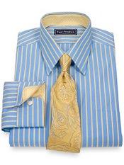2-Ply Cotton Satin Stripes Straight Collar Trim Fit Dress Shirt