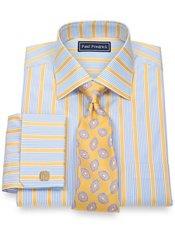 2-Ply Cotton Alternating Stripes Spread Collar French Cuff Trim Fit Dress Shirt