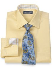 2-Ply Cotton Satin Mini Check Spread Collar Trim Fit Dress Shirt