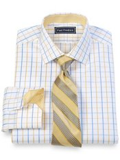 2-Ply Cotton Satin Windowpane Jermyn Street Collar Trim Fit Dress Shirt