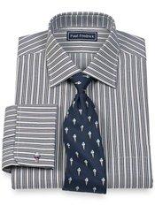 2-Ply Cotton Satin Stripes Spread Collar French Cuff Dress Shirt