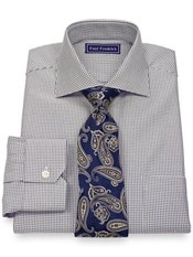 2-Ply Cotton Satin Twill Spread Collar Trim Fit Dress Shirt