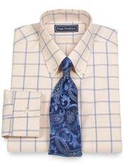 2-Ply Cotton Large Grid Button Down Collar Dress Shirt