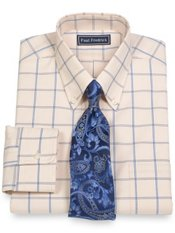 2-Ply Cotton Large Grid Button Down Collar Trim Fit Dress Shirt