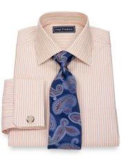 2-Ply Cotton Shadow Stripes Spread Collar French Cuff Dress Shirt