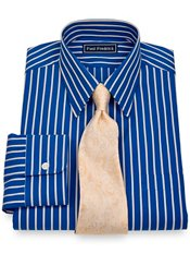 2-Ply Cotton Satin Stripes Straight Collar Trim Fit Dress Shirt