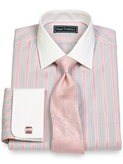 2-Ply Cotton Alternating Stripes Spread Collar French Cuff Dress Shirt