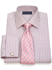 2-Ply Cotton Satin Check Spread Collar French Cuff Trim Fit Dress Shirt