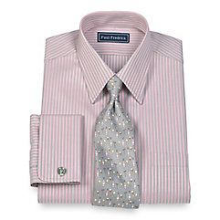 2-Ply Cotton Satin Stripes Straight Collar French Cuff Dress Shirt