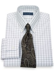 2-Ply Cotton Pinpoint Double Windowpane Button Down Collar Dress Shirt