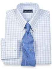 2-Ply Cotton Pinpoint Double Windowpane Button Down Collar Trim Fit Dress Shirt