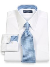 2-Ply Cotton Pinpoint Solid Straight Collar w/Silk Trim Dress Shirt