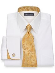 2-Ply Cotton Pinpoint Solid Straight Collar French Cuff w/Silk Trim Dress Shirt