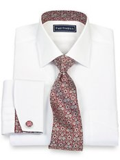 2-Ply Cotton Pinpoint Solid Spread Collar French Cuff w/Silk Trim Dress Shirt