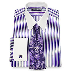 2-Ply Cotton Alternating Stripe Straight Collar French Cuff Dress Shirt $80.00 AT vintagedancer.com