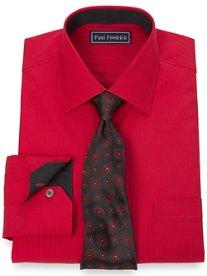 2-Ply Cotton Fine Line Stripe Spread Collar Dress Shirt