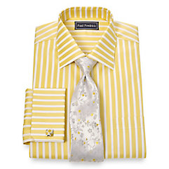 2-Ply Cotton Bold Satin Stripe Spread Collar French Cuff Dress Shirt $40.00 AT vintagedancer.com