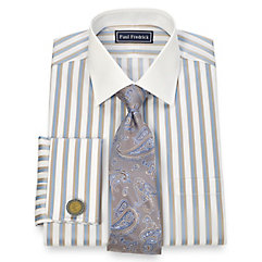 2-Ply Cotton Wide Stripe Spread Collar French Cuff Dress Shirt $80.00 AT vintagedancer.com