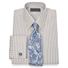 2-Ply Cotton Alternating Stripe Straight Collar French Cuff Dress Shirt $30.00 AT vintagedancer.com
