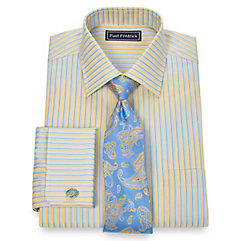 2-Ply Cotton Alternating Stripe Spread Collar French Cuff Dress Shirt $80.00 AT vintagedancer.com