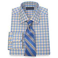 2-Ply Cotton Gingham Spread Collar Dress Shirt $80.00 AT vintagedancer.com